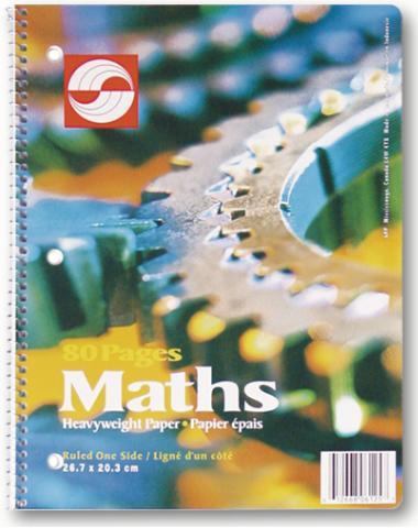 "Coil Math Exercise Book  - 8.5""x11"" - 80pgs - 06125"