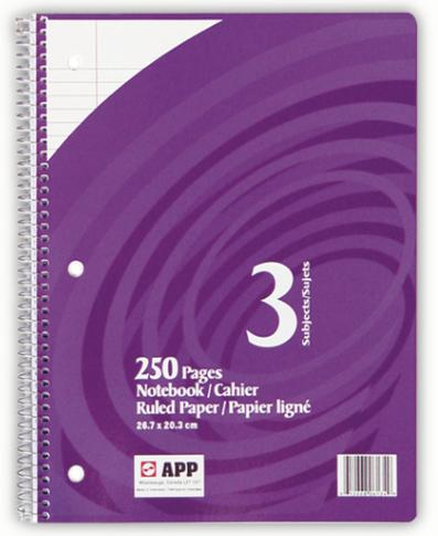 "Coil Book 3 Subject - 8.5""x11"" - 250pgs - 06134"