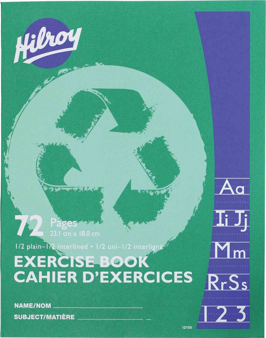"Hilroy 12155 Exercise Books 1/2 Interlined (72pgs) - 7"" x 9"""