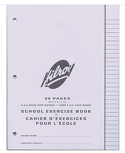 "Hilroy 11185 Exercise Books 3 Hole Punch (80pgs) - 8.5"" x 11"""