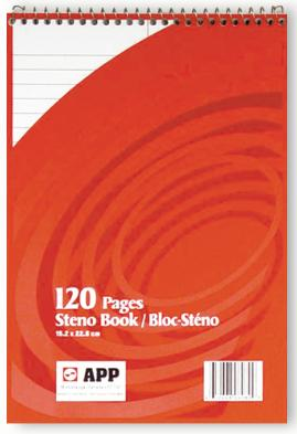 "White Steno Book - 6""x9"" - 120pgs - 06080"
