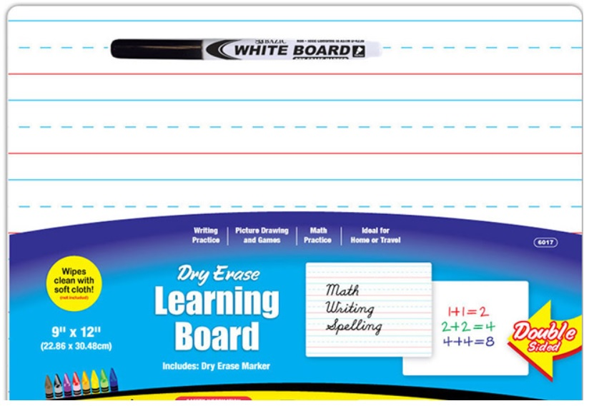 Bazic 6017 9 x 11 Double Sided Dry Erase Board with Marker