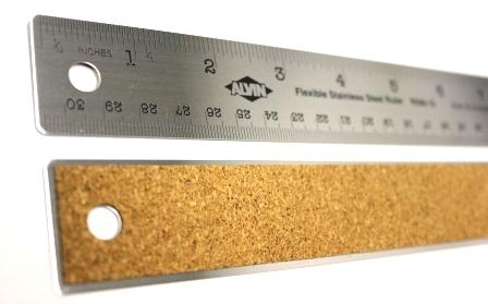 "Ruler Metal Stainless Cork Back - 12"""