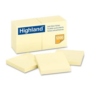 "3M Highland Brand Yellow Post- it  - 1.5""x2"" - 12/pkg - 6539"