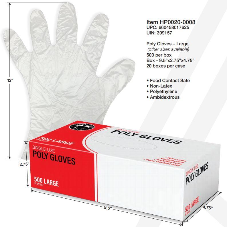 Polyethylene Gloves - Small - Box of 500