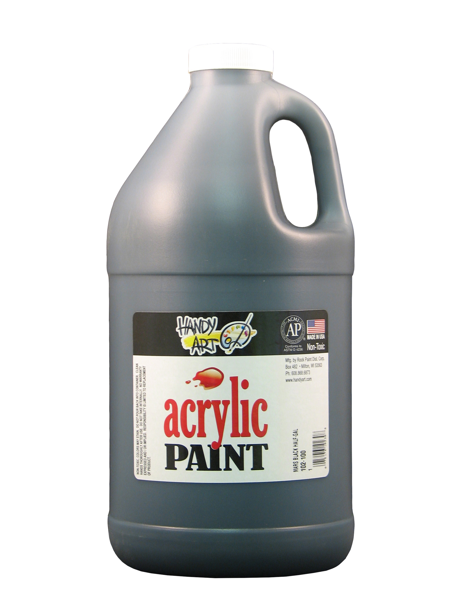 Handy Art 102100 Acrylic Paint Black - 1/2 Gallon