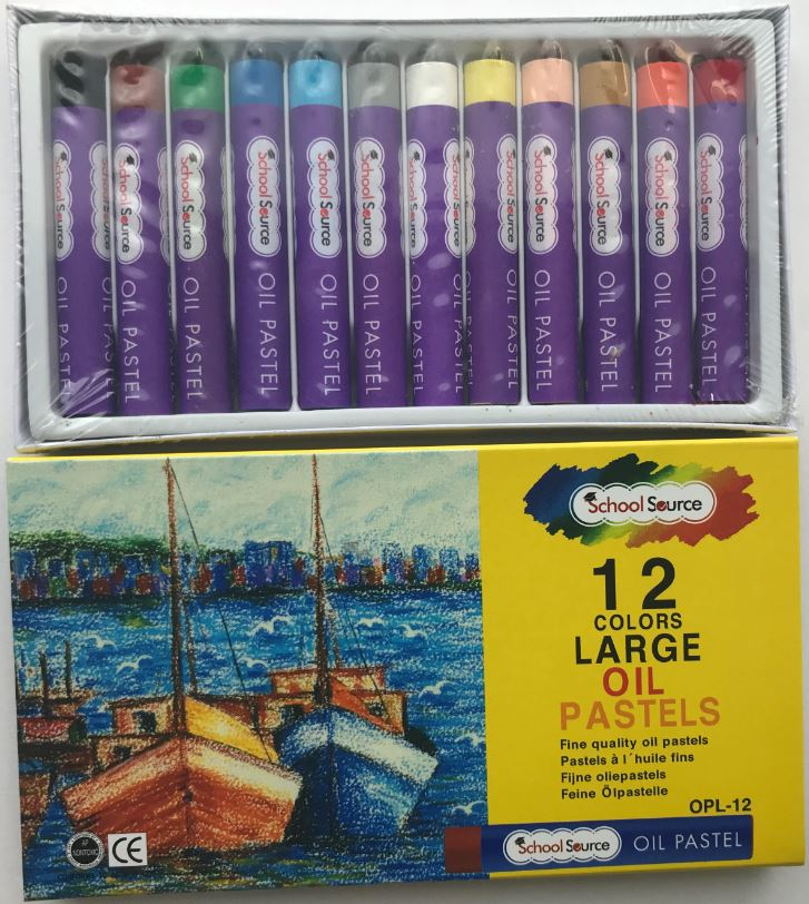 School Source OPL12 Rose Oil Pastels Oversize -  Jumbo