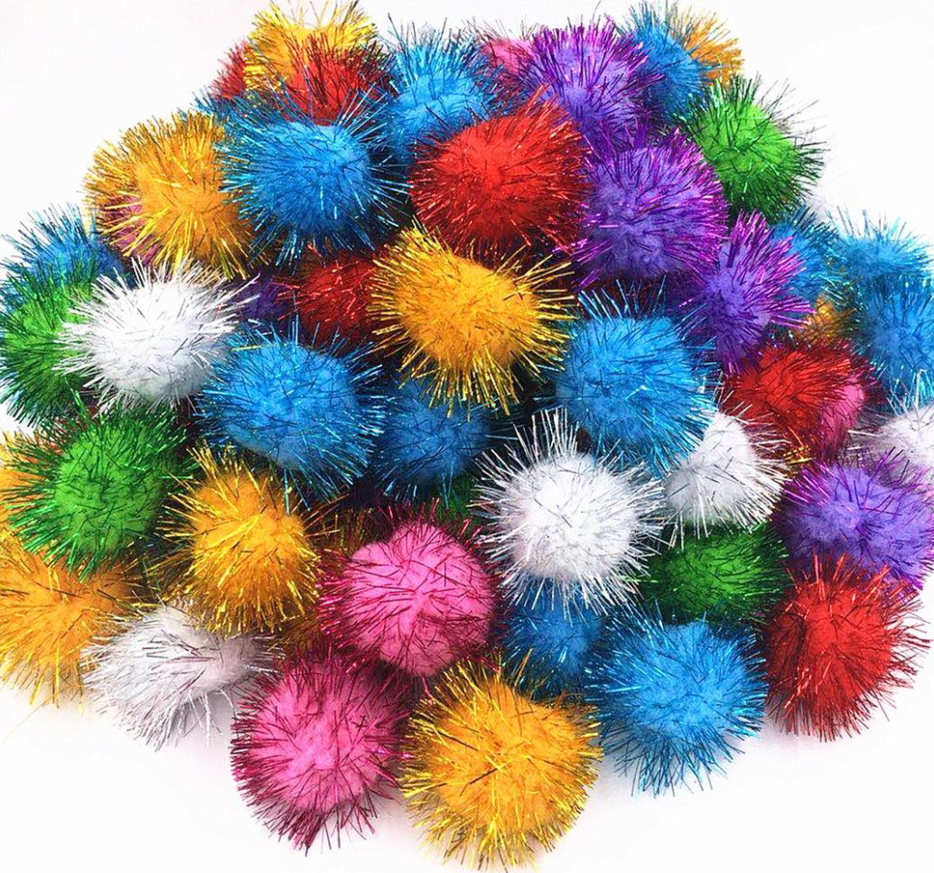 "C338 Pom Poms Assorted Colours Glitter - 1.5"""