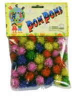 "C338 Pom Poms Assorted Colours Glitter - 0.75"""