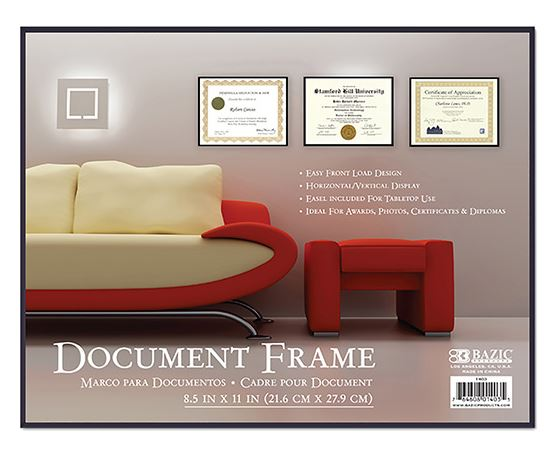 8.5 in x 11 in Front Loading Document Frame with Glass Cover 1403